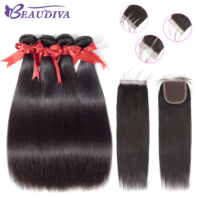 Beaudiva Brazilian Straight Human Hair Bundles With Closure Natural Color 3 Bundles With Lace Closure Non Remy Hair Weave