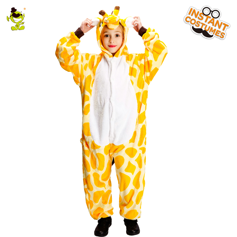 Christmas Children Cartoon Giraffe Animal Pajamas Costume Role Play Winter Flannel Boy Girl Pajamas Costume