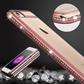 Luxo bling diamond case para iphone 7 roybens/iphone 7 plus tpu macio transparente ouro rosa capa para iphone 6 6 s slim claro