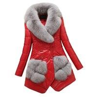 Genuine Leather Winter Jacket Women Clothes 2018 Duck Down Jacket Sheepskin Coat Real Fur Coat Fox Fur Collor Korean Slim ZT608