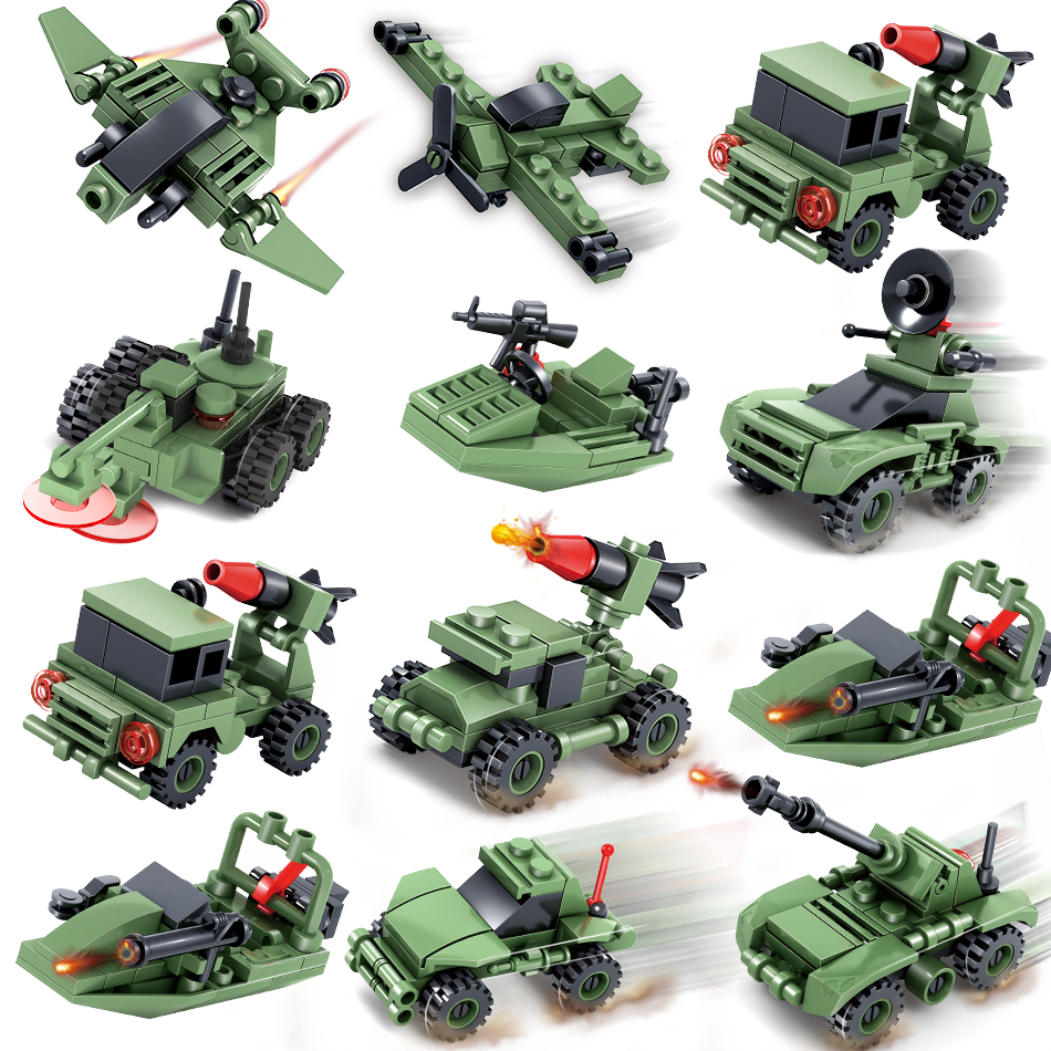 363+pcs Military Army Weapon Car Helicopter Tank Building Block Compatible Legoed Technic City bricks Enlighten Toy for Children