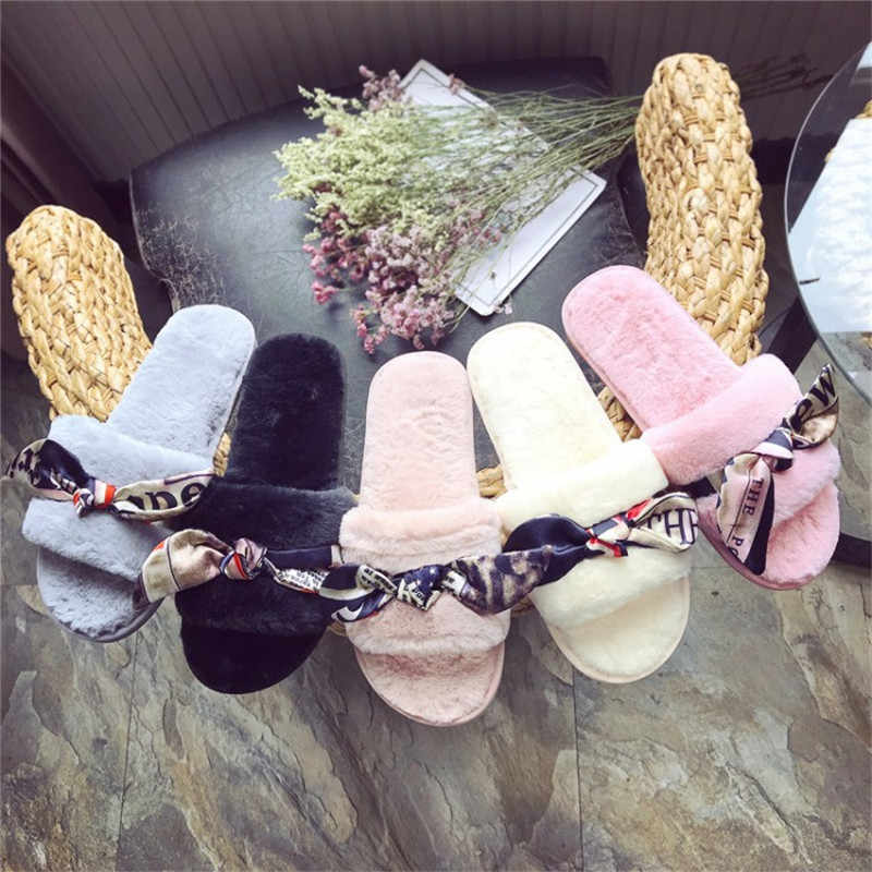 COOTELILI Winter Fashion Women Home Slippers Warm Shoes Woman Slip on Flats Silk Bowtie Ladies Fur Slides Plus Size wholesale