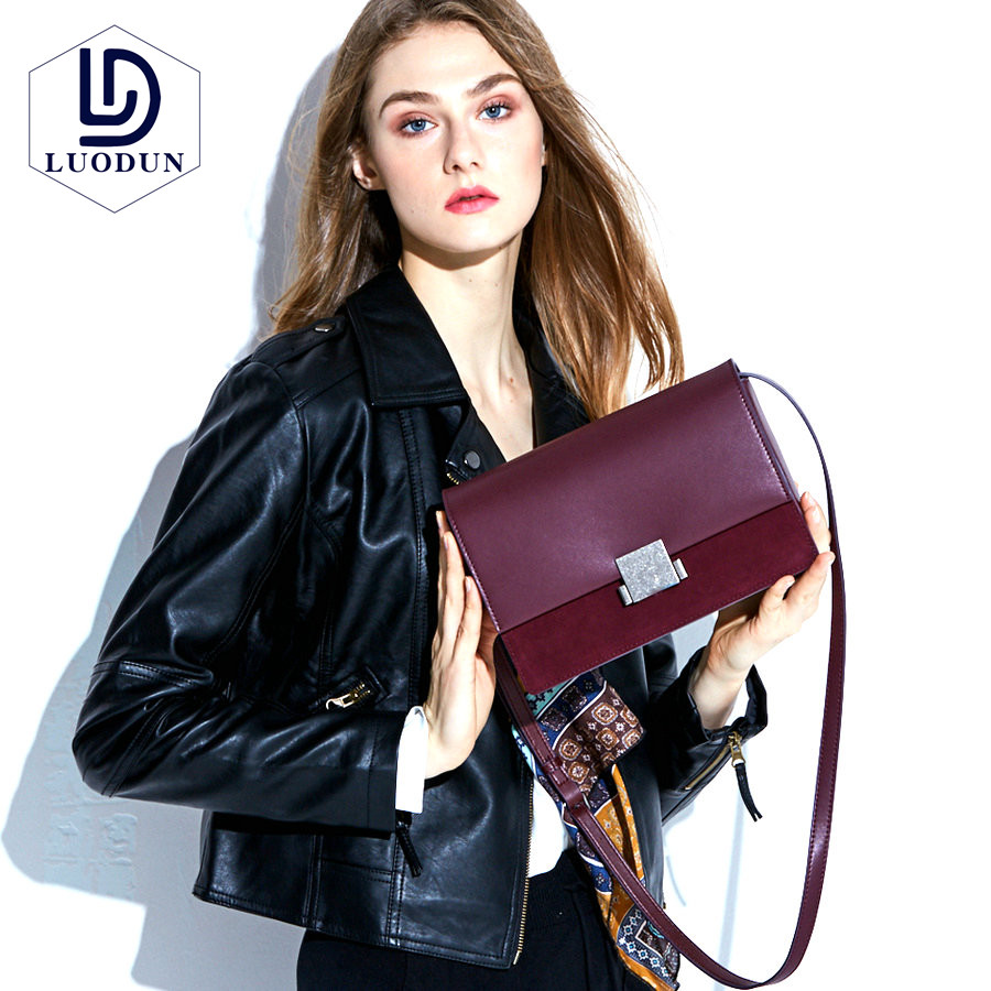 LUODUN female 2018 new leather handbags lock fashion bag ladies personalized shoulder Messenger bag 2018 new female bag korean version of the striped shoulder messenger bag small fashion handbags ladies wrist bag