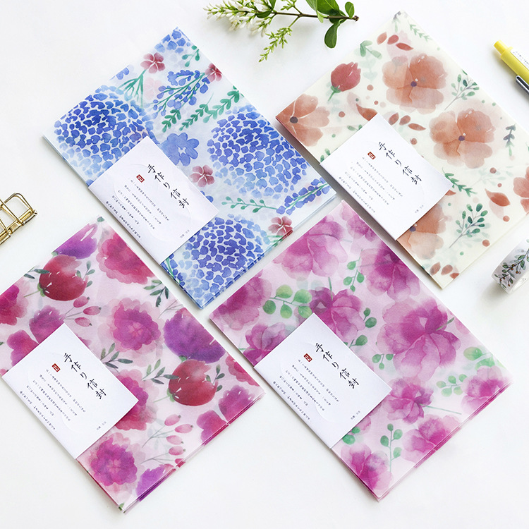 3 Pcs/pack  Cute Kawaii Four Seasons Flowers Sulfuric Acid Paper Envelope For Postcard Kids Gift School Materials Student