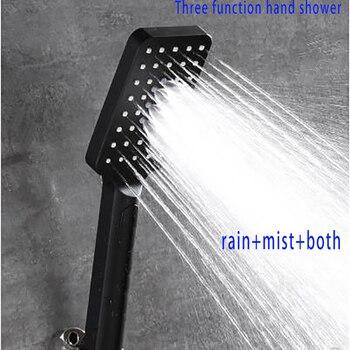 Buena calidad 3 funciones flexible alta presión lluvia y niebla mezclando ducha de mano mate negro baño ducha