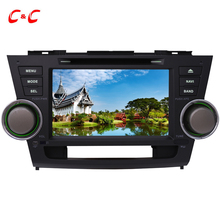 Upgraded Capacitive Screen ! Car DVD Player GPS for Toyota Highlander with Radio SWC BT Mirror Link+Free 8G Map Card