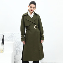 High quality fashion women long trench coat new 2016 autumn winter waist sashes elegant outerwear brief style nude army green