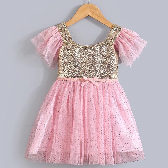 Hot Little Girl Summer Dress Baby Gold Sequin Stitching Princess Tutu Dress  with Pink Glitter Bling Tulle Swing Kids Party Dress c1fe76d51d6b