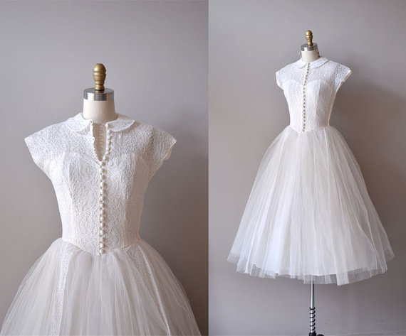 50s Wedding Dresses Vintage 1950s Style Cap Sleeves Tea