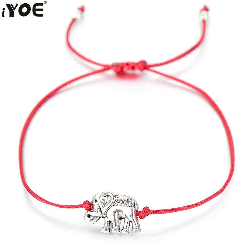 Милый Серебристый браслет IYOE в виде слона для женщин, мужчин, детей, браслеты на удачу, красные Парные браслеты, ручная работа, веревка, семей...