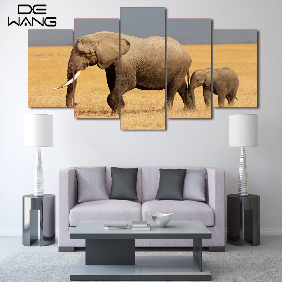 5 Panel Canvas Art Modern Decoration Animates Elephant Painting Pictures Canvas Wall Frame Oil Indian Picture For Kids Room