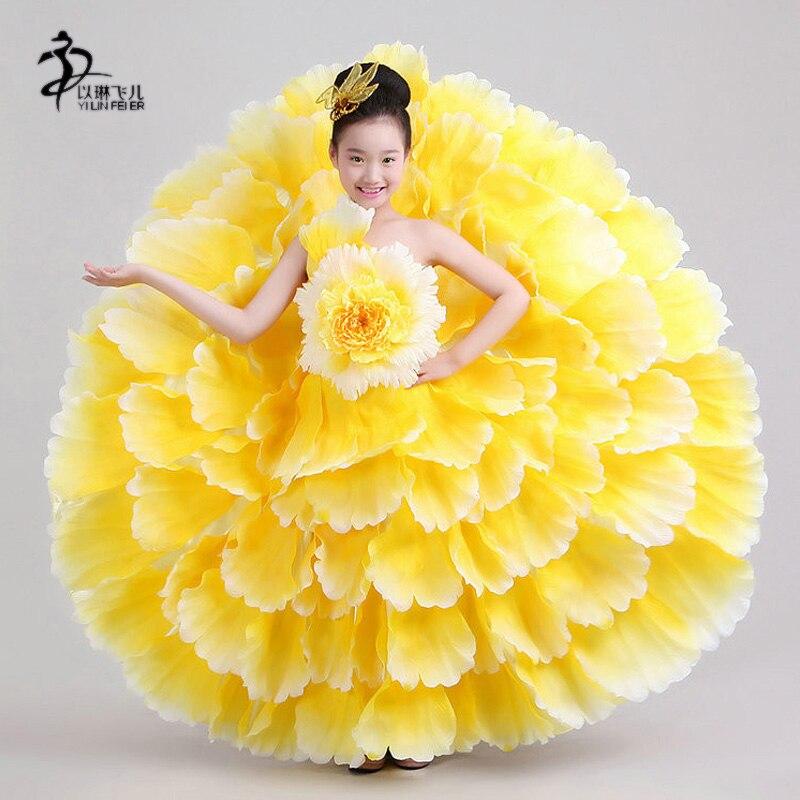 Flamenco-klänning för flickor / RED FLAMENCO KIDS OPENING DANCE DRESS