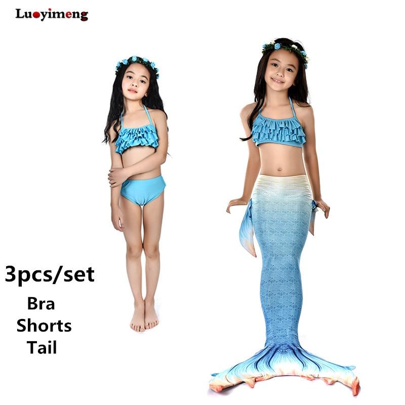 Comprar Traje De Baño Princesa 3 Unid Con Cola Sirena Para Niños ... df66e96c980