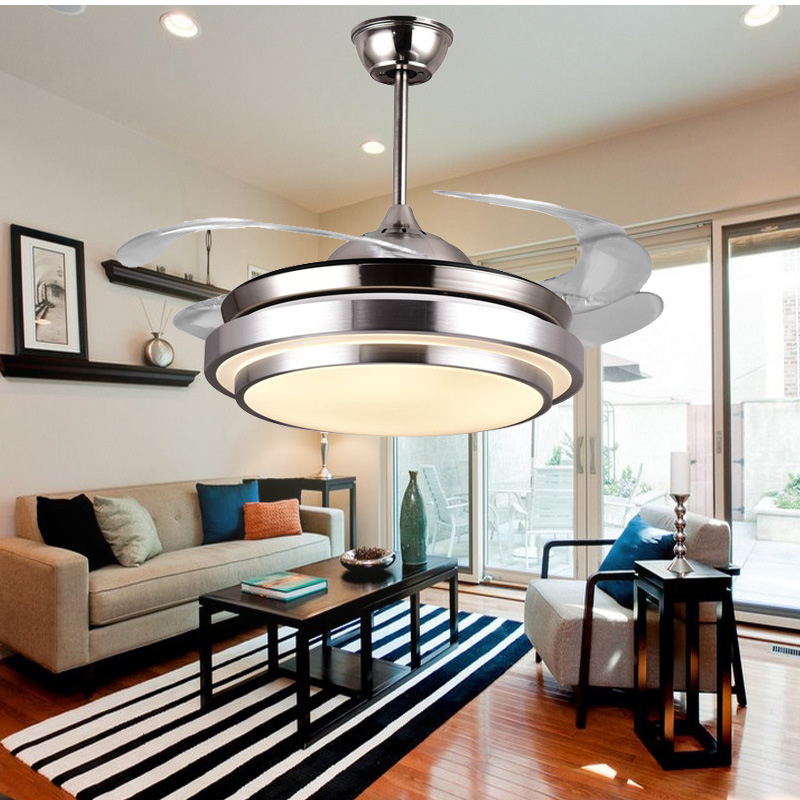 online shop 42inch factory wholesale modern invisible fan lights acrylic leaf led ceiling fans 110v220v wireless control ceiling fan light aliexpress