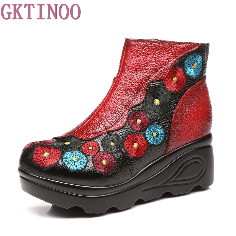 GKTINOO Fashion Handmade Boots For Women Genuine Leather Ankle Shoes Vintage Platform Women Shoes Round Toes Wedges Boots tastabo 2017 fashion handmade boots for women genuine leather ankle shoes vintage mom women shoes round toes martin boots