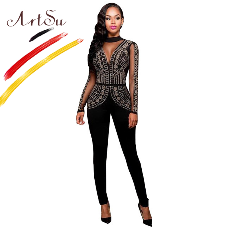 ArtSu Sexy Women Mesh See Through Club Jumpsuit Round Neck Long Sleeve Beading Black Rompers 2018 Plus Size Slim Party Jumpsuits
