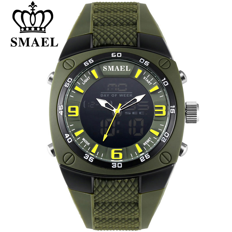 SMAEL Fashion Watches Men LED Sport Military-Watch Alloy Dial Resistant Male Analog Quartz Digital Watch Relogio Masculino 1008