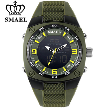 SMAEL Fashion Watches Men LED Sport Military-Watch Alloy Dial Resistant Male Analog Quartz Digital Watch Relogio Masculino 1008 pasnew watch men military sports watches led display analog digital quartz watch 100m waterproof dive watches relogio masculino