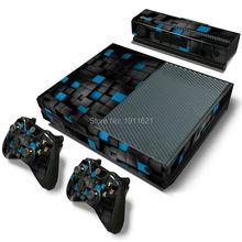 Круглая трехмерная черная и синяя сетчатая виниловая наклейка для Xbox One Skin Sticker Console & 2 Controller Skins