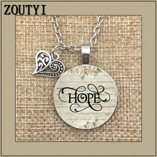 2018/ hot sale HOPE Charm necklace, hopeful, hope pendant, inspirational gift, survivor charm
