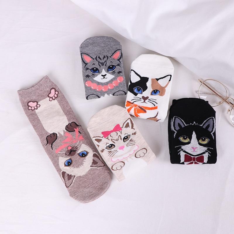 Jeseca New Cartoon   Sock   Cute Cat Animal Jacquard   Socks   Cotton Lovely Female Funny Novelty Creative Kawaii Autumn Winter   Sock