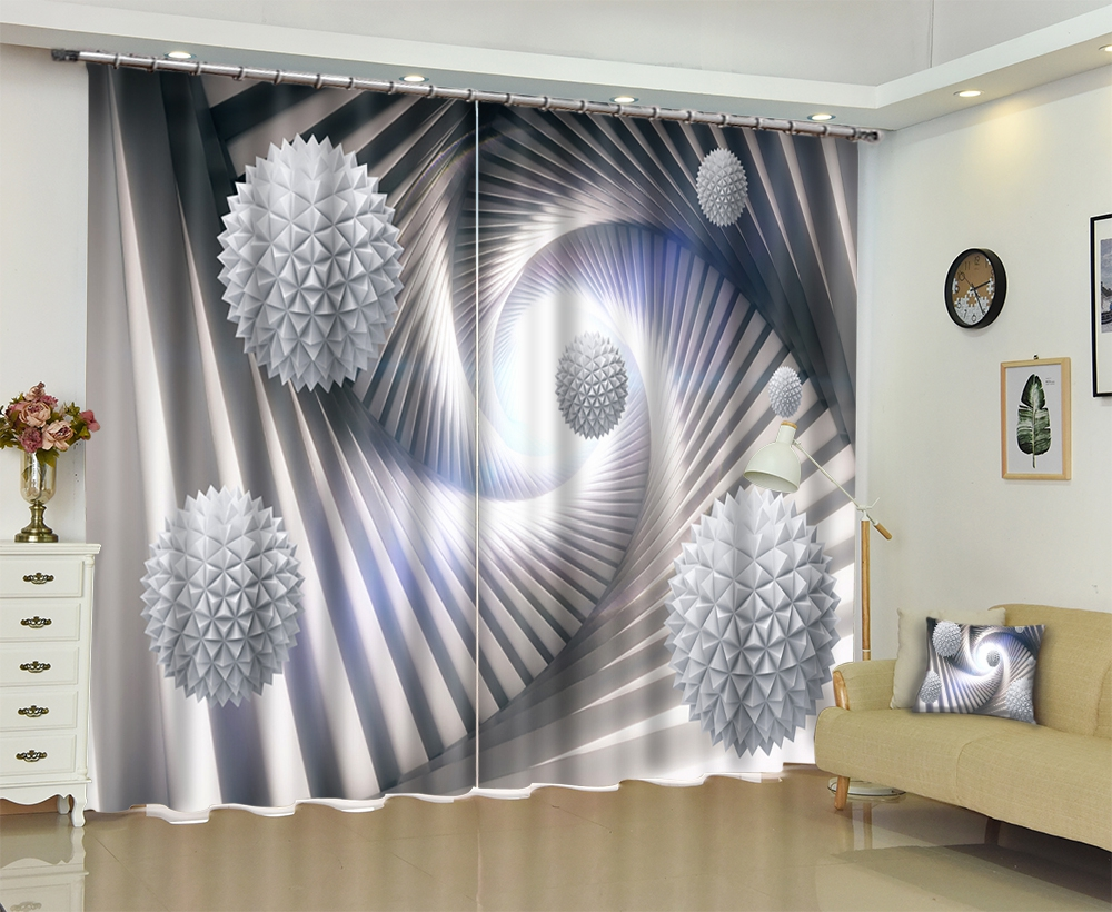 Europe Grey color Space geometry 3D Window Curtains Drapes For Living room Bed room Office Hotel
