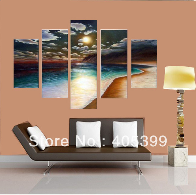 Hot Sale! Modern Abstract Seascape   Oil Painting Wall Art  On Canvas ,Sunrise  Landscape Painting JYJLV240