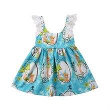 2893482303b59 Princesse enfant en bas âge enfants bébé fille robe d été dessin animé  beauté impression dentelle sans manches formelle Pageant .