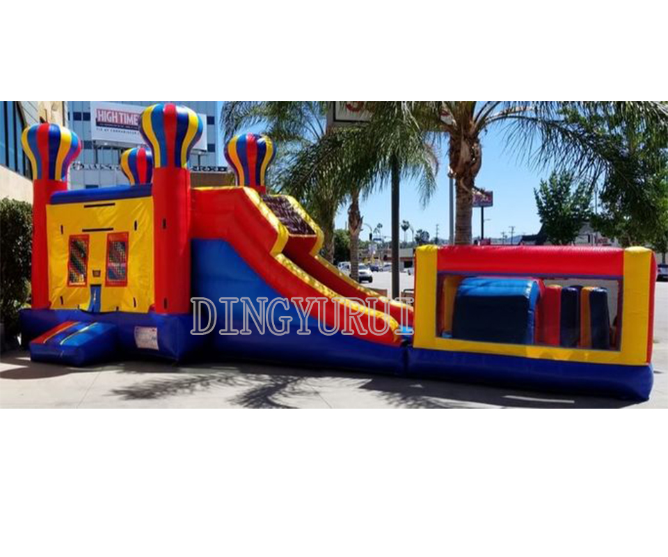 Good quality inflatable castle combo inflatable slide for kids  with inflatable obstacle course for saleGood quality inflatable castle combo inflatable slide for kids  with inflatable obstacle course for sale