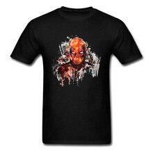 Marvel Deadpool T Shirt Men Watercolor Painting Art Designs Tee-Shirt Dead Pool Daredevil T-Shirt Superhero Tshirt New Fashion