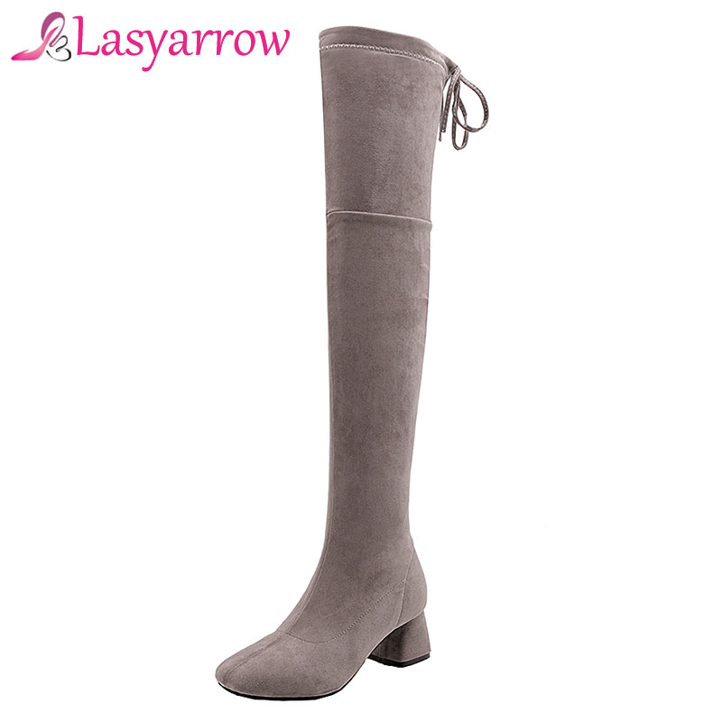 Lasyarrow Stretch Boots Lace Up Thigh High Long Boots Sexy Slim Elastic Botas Mujer Large Size Square toe Over the Knee Boots stretch fabric over the knee boots sexy back zipper low heels shoes women round toe black khaki long boots elastic botas mujer