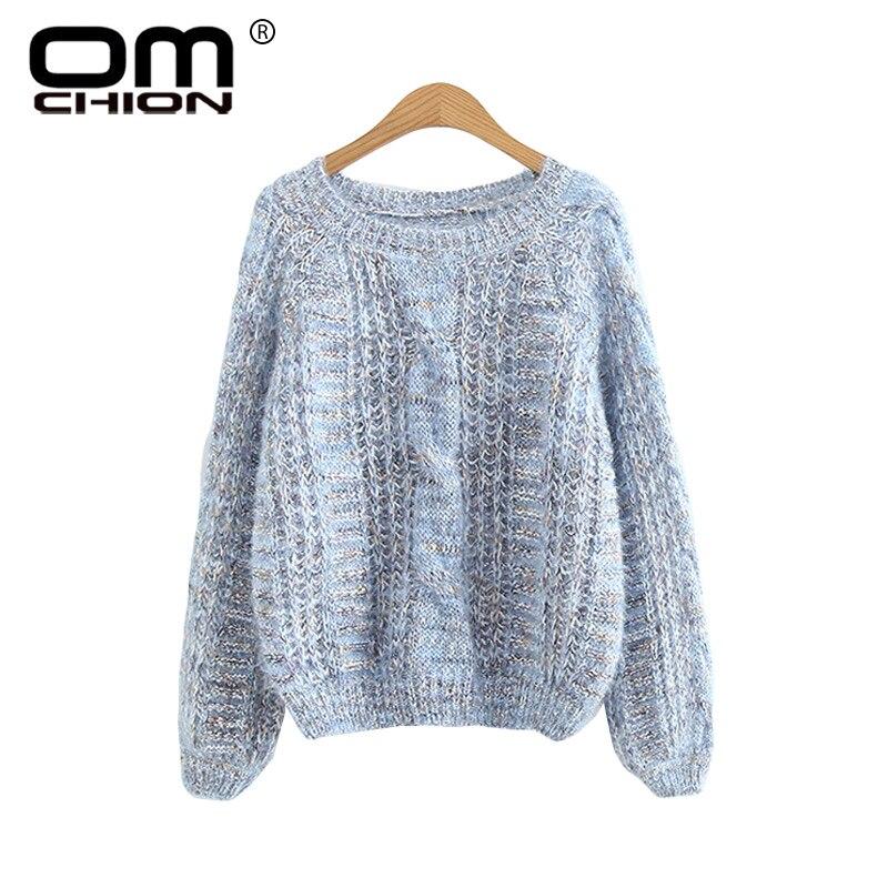 OMCHION Poleras Mujer 2018 Korean O Neck Puff Sleeve Mohair Sweater Casual Autumn  O Neck Pullover eab8301cc