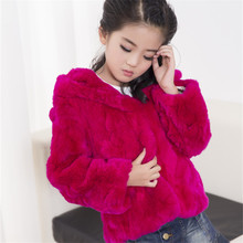 2017 Children Rabbit Fur Coat Autumn Winter Girls Short Hooded Full Casual Fur Coat Baby Outerwear Jacket Lovely Clothing C#15