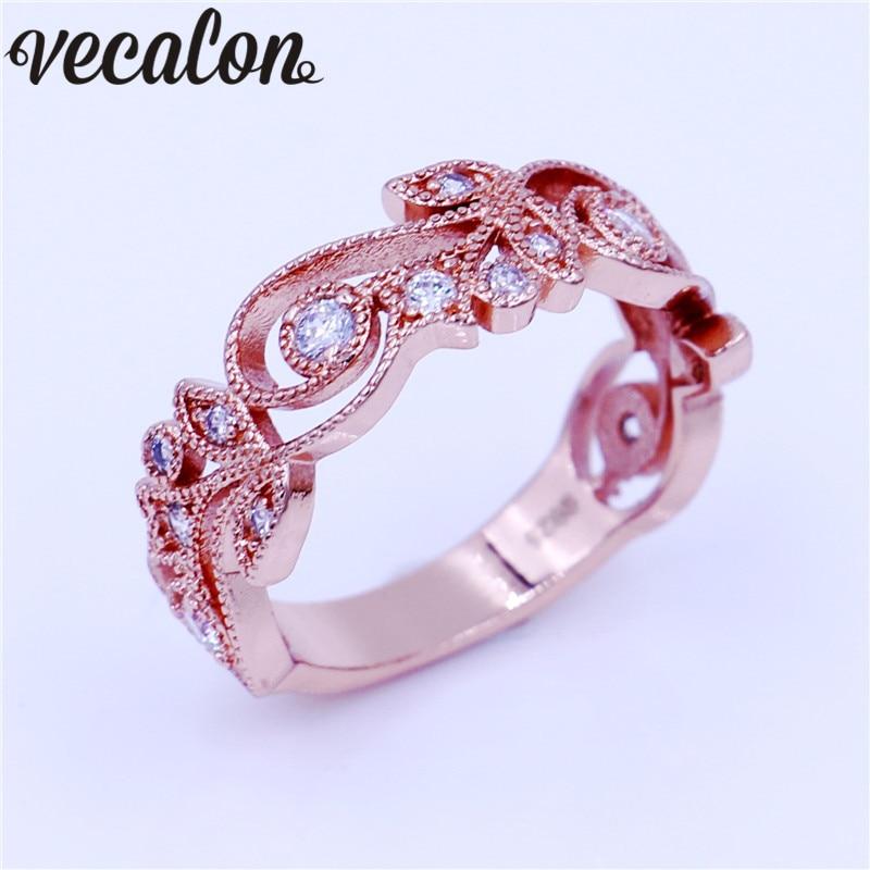 Vecalon Flower Design Women Band ring Diamonique Cz Rose Gold Filled Anniversary wedding ring for women men Fashion Jewelry