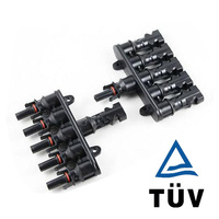 2 5 pair MC4 Connectors M/FM Solar Panel MC4 5 to 1 T Branch 40A Solar Panel Connector Cable Coupler Combiner