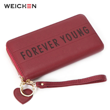 WEICHEN Heart Pendant Wristband Wallet Women Brand Letter Clutch Wallet Female Card Holder Ladies Coin Phone Purse Handbag NEW