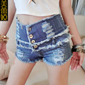 2016 женщины высокой талией летние джинсовые горячие шорты женские сексуальные бурлящие штаны femme мода разорвал разорвал жан микро мини добычу