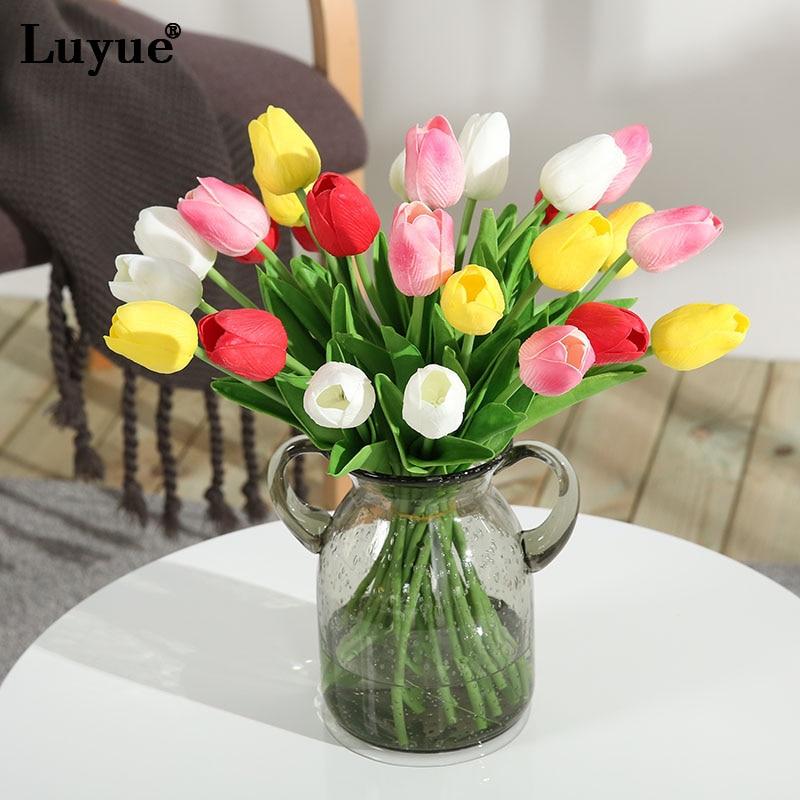 Luyue 11 шт./лот реального сенсорный тюльпан искусственный цветок PU моделирования букет цветы для дома Свадебные Декоративные цветы и венки