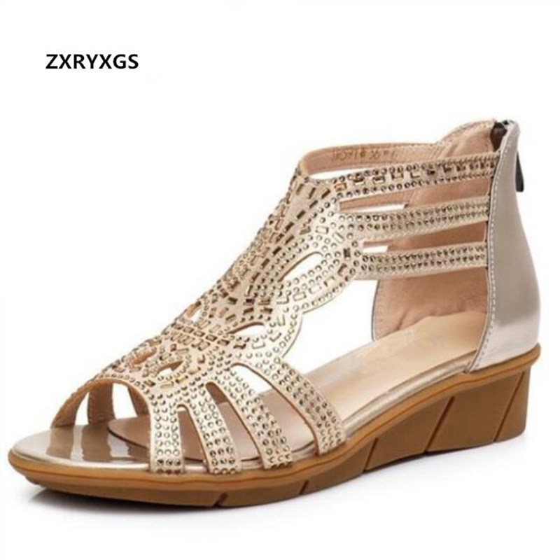 2019 New Hollow Rhinestone Shoes Woman Summer Fashion Sandals Casual Shoes Soft Comfortable Real Leather Sandals Flat Plus Size-in Middle Heels from Shoes    1