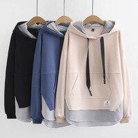 2019 Spring Autumn Sweatshirts Large Size Women's New Jacket Solid Color Korean Version Cotton Hooded Stitch Ladies Sweatshirts