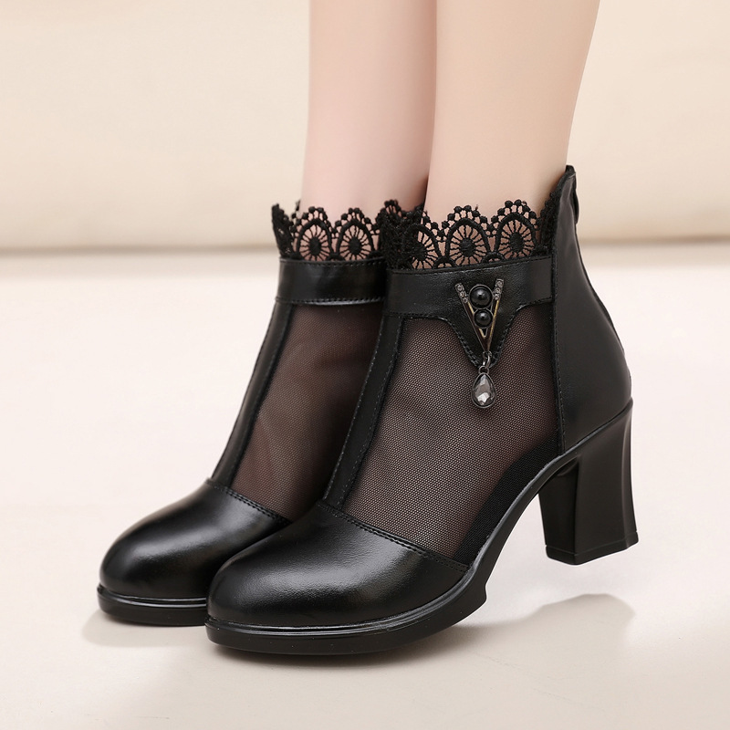 Hollow Coarse Genuine Rhinestone Boots Pump Heels Women Summer Shoes High Heel Sandals