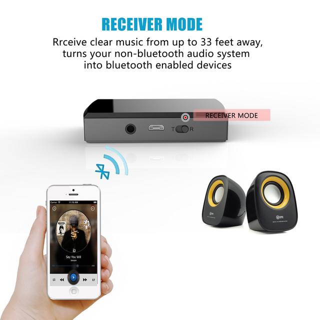 2en1 Bluetooth Transmisor y Receptor Inalámbrico 3.5mm Audio de la Música
