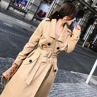 2018 retro spring autumn Trench women Solid Color Lady Long Windbreak single Breasted Slim Trench Coat With Belt