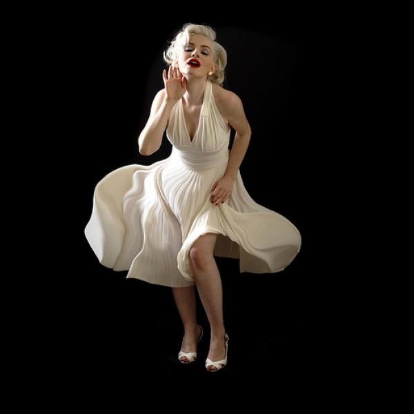 White Custom made Pleated Chiffon Evening Dress 2017 Marilyn Monroe ...