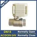 Питание от возврата DN15 нормально открытый/закрытый клапан AC/DC 9 в 12 В 24 в 2-Way BSP/NPT 1/2 \'\'SS304 водяной электрический клапан с индикатором - фото