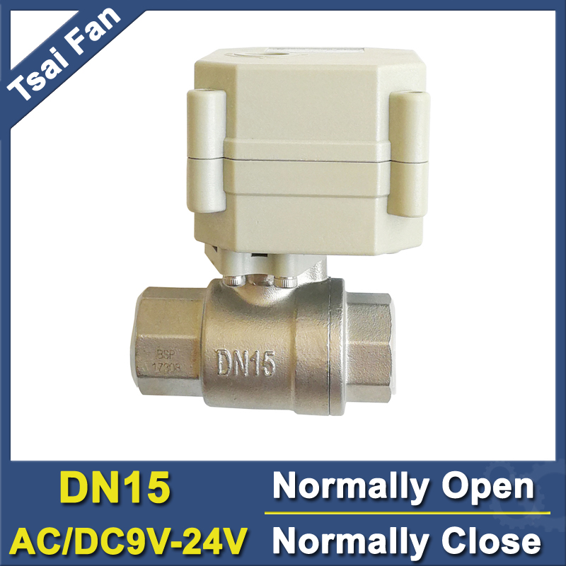 Power Off Return DN15 Normally Open/Close Valve AC/DC 9V 12V 24V 2-Way BSP/NPT 1/2'' SS304 Water Electric Valve With Indicator tf15 s2 b dn15 stainless steel normal close open valve 2 5 wires bsp npt 1 2 ac dc9v 24v electric water valve