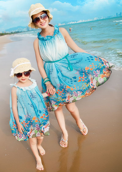 ФОТО 2015 Matching Mother Daughter Clothes Family Look Clothing Girl and Mother Maxi Dress Parent-child Outfit  Ma e Filha Dresses