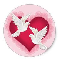 1.5inch Heart and Doves - Pink Classic Round Sticker