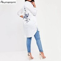 Plus Size Solid White Women Blouses Floral Embroideried Long Sleeve Female Clothing Casual Lady Tops 7XL 6XL 5XL 4XL 3XL 2XL