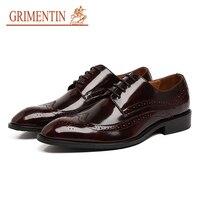 GRIMENTIN italian mens dress shoes black brown male shoes patent leather business wedding shoes 2019 hot sale